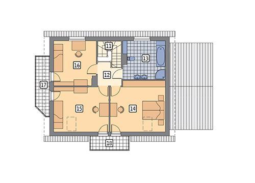 Rzut poddasza POW. 87,2 m²