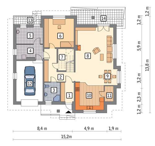 Rzut parteru POW. 142,4 m²