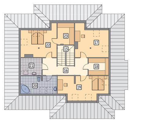 Rzut poddasza POW. 140,1 m²