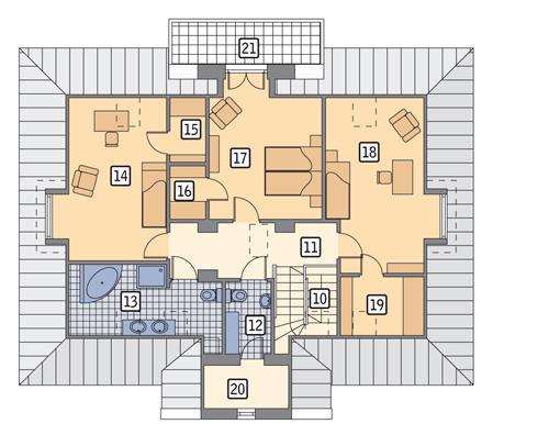 Rzut poddasza POW. 129,9 m²