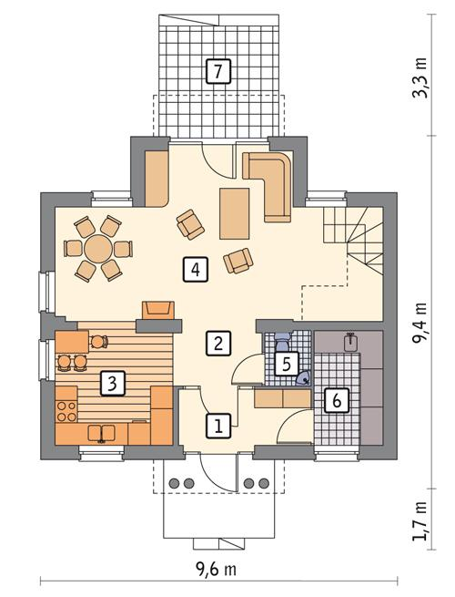 Rzut parteru POW. 57,5 m²