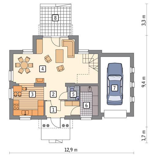 Rzut parteru POW. 75,1 m²