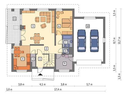 Rzut parteru POW. 139,7 m²