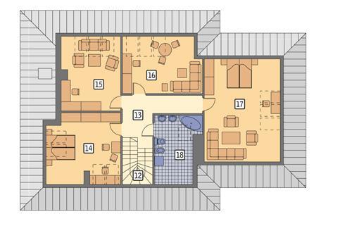 Rzut poddasza POW. 123,3 m²