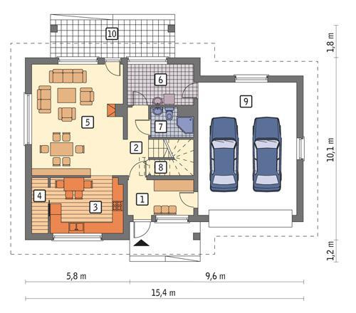 Rzut parteru POW. 112,2 m²