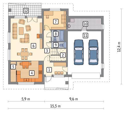 Rzut parteru POW. 135,0 m²