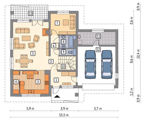 Rzut parteru POW. 126,9 m²