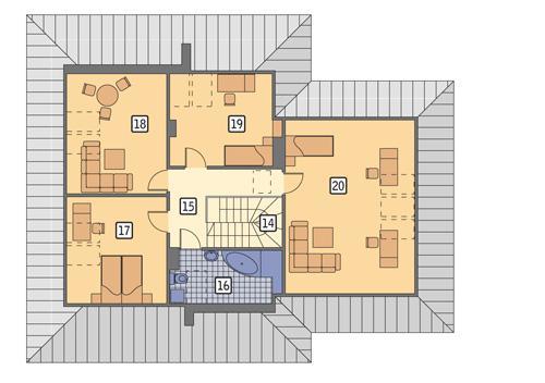 Rzut poddasza POW. 116,4 m²