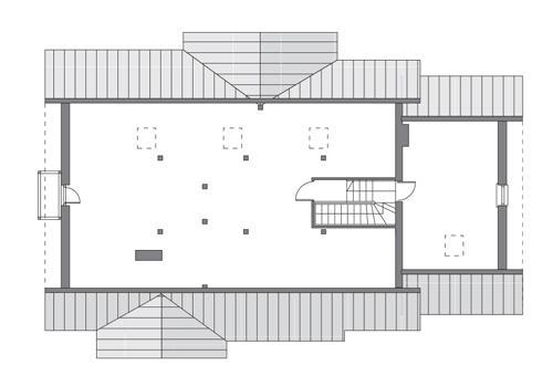 Rzut poddasza: do indywidualnej adaptacji (59,7 m2 powierzchni użytkowej)