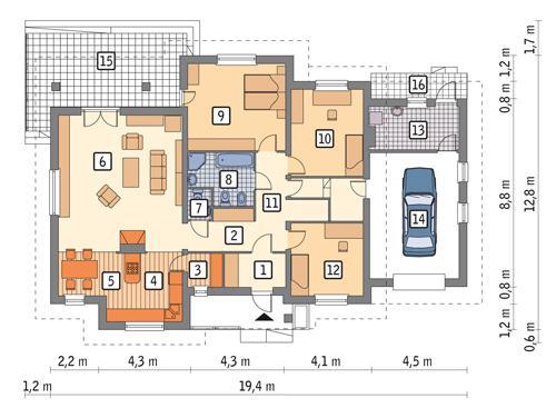 Rzut parteru POW. 152,0 m²