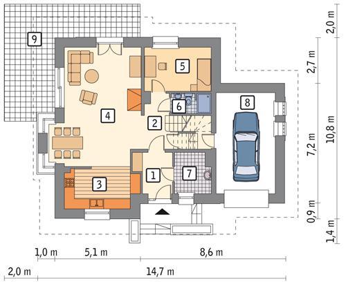 Rzut parteru POW. 95,9 m²