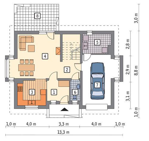 Rzut parteru POW. 78,3 m²