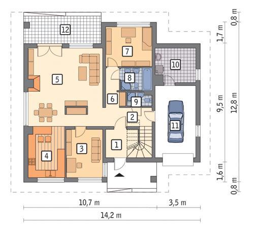 Rzut parteru POW. 120,9 m²