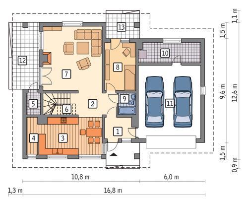 Rzut parteru POW. 138,6 m²