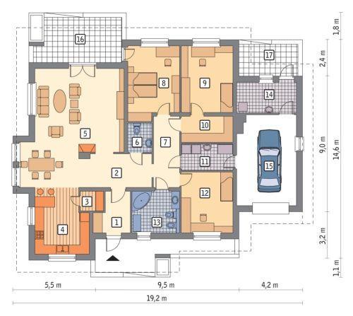 Rzut parteru POW. 182,8 m²