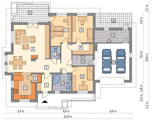 Rzut parteru POW. 196,9 m²