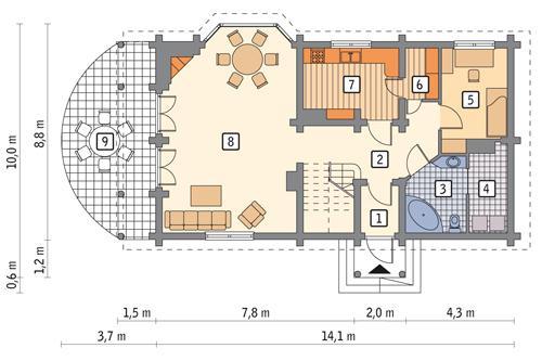 Rzut parteru lustro POW. 92,9 m²