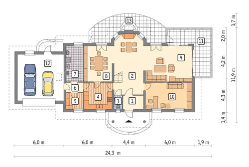 Rzut parteru POW. 169,1 m²
