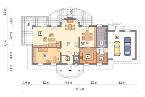 Rzut parteru lustro POW. 169,1 m²