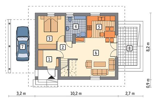 Rzut parteru: wersja podstawowa POW. 61,0 m²