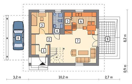 Rzut parteru: wariant 3 POW. 60,1 m²