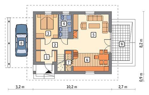 Rzut parteru: wariant 5 POW. 62,7 m²