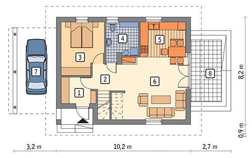Rzut parteru: wariant 6 POW. 60,7 m²