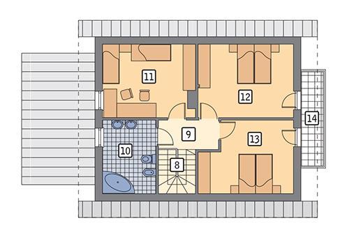 Rzut poddasza: wariant 7 POW. 69,1 m²