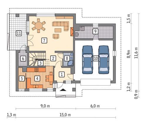 Rzut parteru POW. 114,1 m²