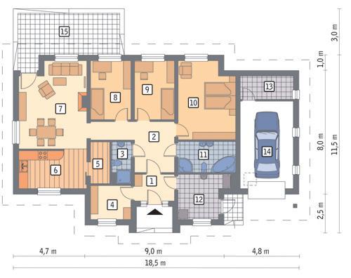 Rzut parteru POW. 138,4 m²