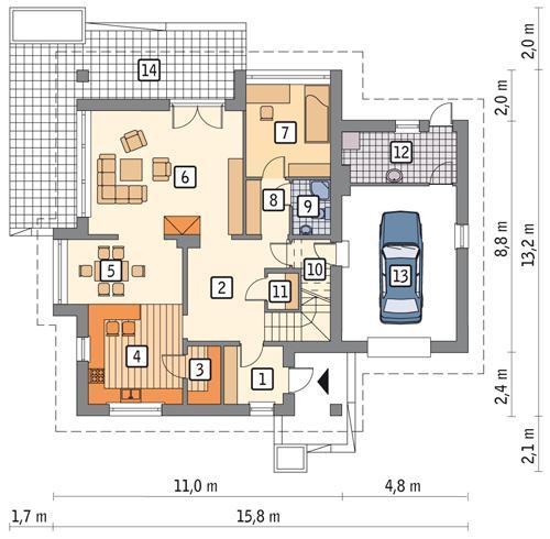 Rzut parteru POW. 127,3 m²