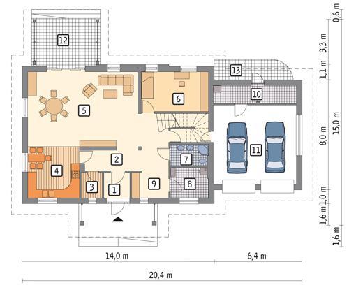 Rzut parteru POW. 157,5 m²