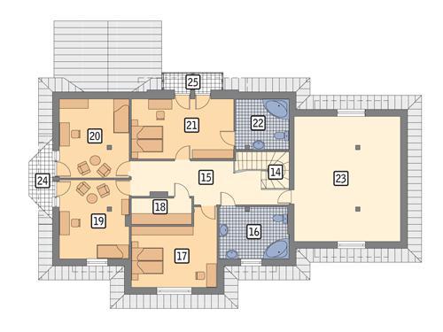 Rzut poddasza POW. 174,9 m²