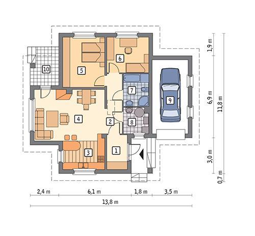 Rzut parteru POW. 99,9 m²