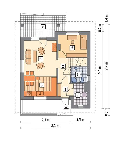 Rzut parteru POW. 45,2 m²