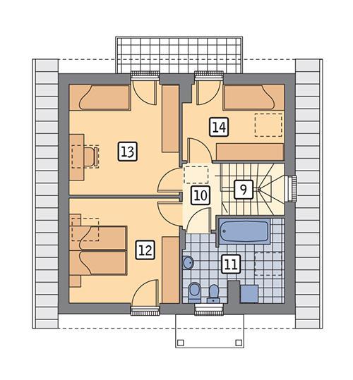 Rzut poddasza POW. 57,4 m²