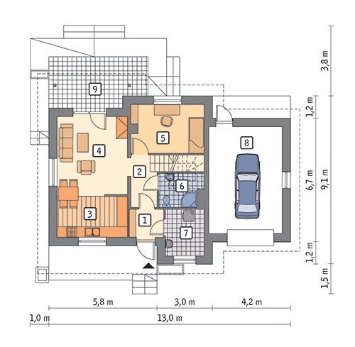 Rzut parteru POW. 71,2 m²