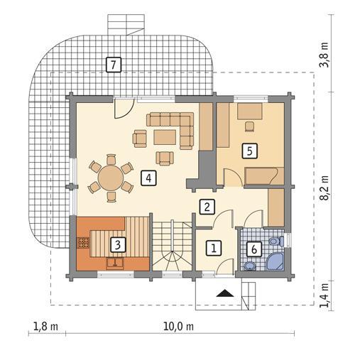 Rzut parteru POW. 62,4 m²