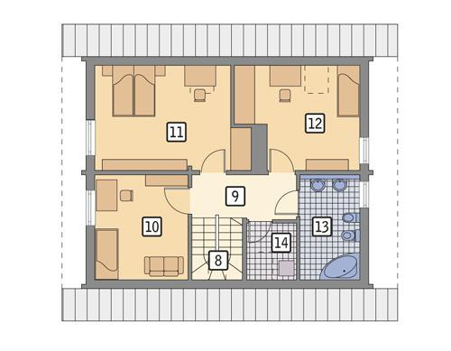 Rzut poddasza POW. 61,8 m²