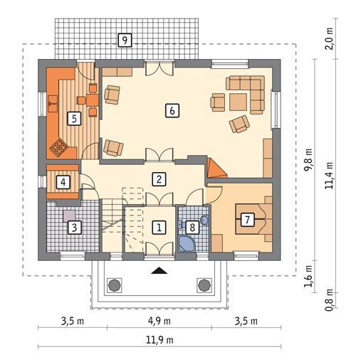 Rzut parteru POW. 89,9 m²