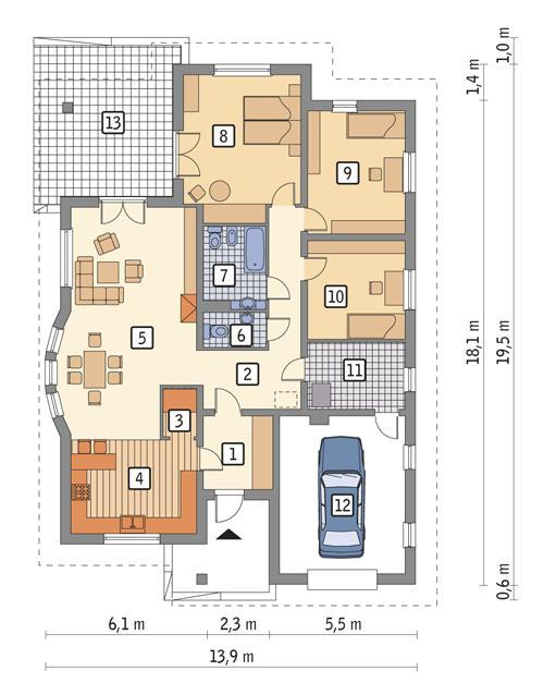 Rzut parteru POW. 180,0 m²