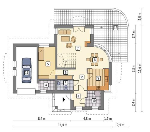 Rzut parteru POW. 100,6 m²