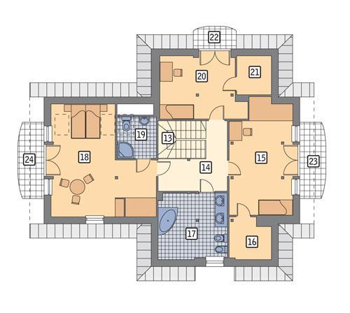 Rzut poddasza POW. 121,6 m²