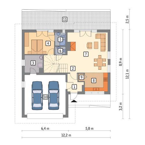 Rzut parteru POW. 103,3 m²
