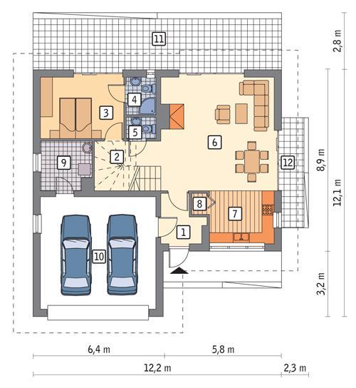 Rzut parteru POW. 103,2 m²