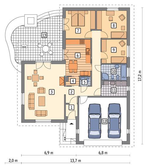 Rzut parteru POW. 149,2 m²