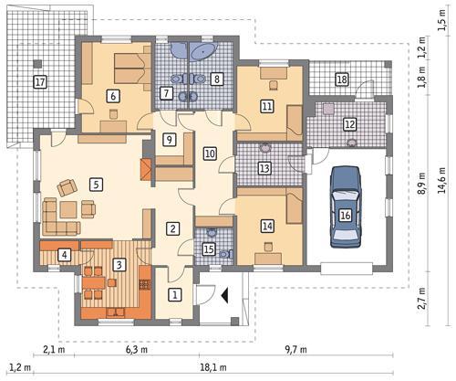 Rzut parteru POW. 171,1 m²
