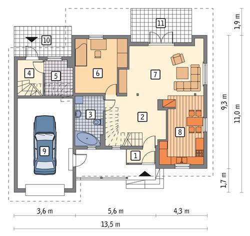 Rzut parteru POW. 100,1 m²