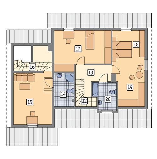 Rzut poddasza POW. 87,1 m²