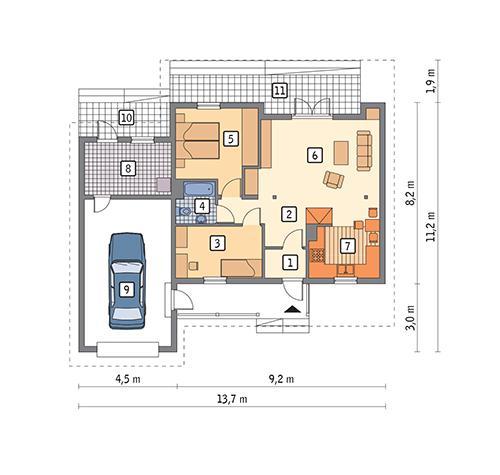 Rzut parteru POW. 96,3 m²